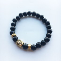 Wholesale Natural Jade Beads Prayer - Tibetan Gold Plated Bracelet for Women Black Lava Jade Beads Reiki Buddha Prayer Natural Stone Yoga Jewelry