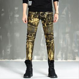 Wholesale Hip Nightclub - Wholesale- High-quality 2017 new gold silver coated men jeans elastic skinny Slim biker jeans man motorcycle pants hip hop nightclub style