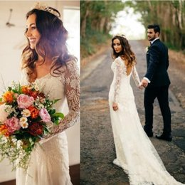 Wholesale Vintage Fancy - 2017 New Elegant Country Long Sleeve Lace Wedding Dresses V Neck Backless Court Train Trumpet Boho Fancy Bridal Gowns Robe de Mariage