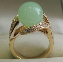 Wholesale Jade Silver Jewellery China - Women's Costume Jewellery Pretty 12MM Green Jade Ring 6#-8#