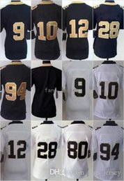 Wholesale Cooking Oranges - Women Game Style #28 Peterson Blank #9 BREES #10 COOKS #12 COLSTON 94 Cameron White Black Mix Order Home Road Jerseys Free Drop Shipping