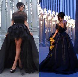 Robes de bal en taffetas en Ligne-2018 Sexy Black Prom Party Robes Hors Épaule Haute Basse Dos Nu Taffetas Célébrité Robes De Soirée Vestidos de baile Custom Made