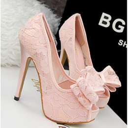 Wholesale High Heels Shoes Platform Pink - 2017 Lace Ladies Pumps Rhinestone Platform High Heels Lace Peep Toe Wedding Shoes Woman Summer