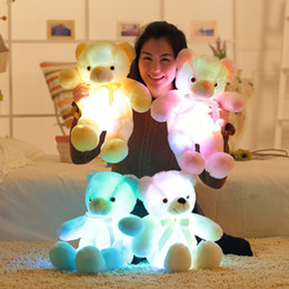 Wholesale Wholesale Teddy Bears Stuffed Animals - Wholesale- 50cm Kawaii Light Up LED Inductive Teddy Bear Stuffed Animals Plush Toy Colorful Glowing Teddy Bear Christmas Gift for Kids toys