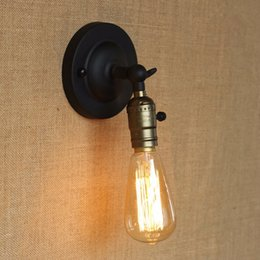 Wholesale Small Warehouses - Retro Mini wall lights Knob switch warehouse loft American country Vintage iron Small can use Edison light bulb Wall Lamps