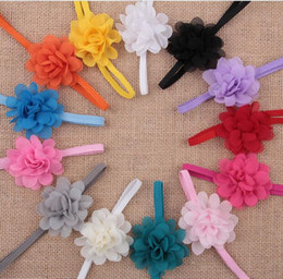Wholesale Girls Chiffon Headband - Girls Baby Newborn Chiffon Flower Toddler Hair Band Headbands Headwear YH395