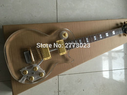 Wholesale Acrylic Guitars - NEW Electric Guitar ,guitarra,Fingerboard & crystal Body with LED, LP Acrylic guitar, Clear, Chrome Hardware -Wholesale