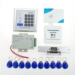 Wholesale Full Door Locks - Wholesale- Full Rfid Door Lock Access Control 3000users Keypad Kit +Electric NC Electric Strike Lock+Power+Button +Door Bell+Key card