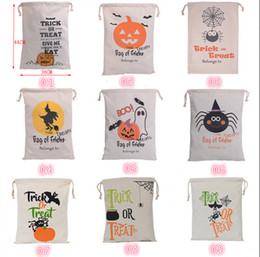 Wholesale Wholesale Canvas Wraps - New Halloween Bags Candy Canvas Bag Gifts Sacks Pumpkin Head Gift Wrapping Bags Bundle Pocket Durable Multiple Types