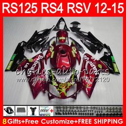 Injeção Para Aprilia RS4 RS125R RS 125 2012 2013 2014 2015 RS-125 Vinho tinto 72NO48 RSV125 12-15 RS125R RSV 125 RS125 12 13 14 15 Carenagem cheap rs125 fairings de Fornecedores de carrinhos rs125