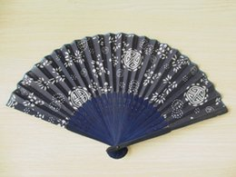 2019 padrões de artesanato em tecido Tecido azul escuro dobrável fã Spec.21cm padrão de flor impressa punho de bambu hand craft fã verão presentes DL_HF006 padrões de artesanato em tecido barato