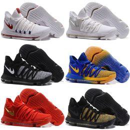 Wholesale Kd Low Cut Shoe - Zoom KD 10 Basketball Shoes Men Men's Homme Blue Tennis BHM Kevin Durant 10 X 9 Elite Floral Aunt Pearls Easter Sport Shoes