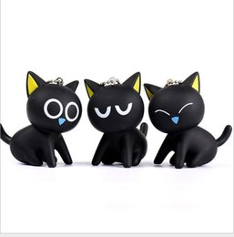 Wholesale Diy Cat Bag - Lovely Cartoon cute Little black cat key chain DIY Intelligence Key Ring Boys&Girls Birthday Key pendant Gifts for car bag