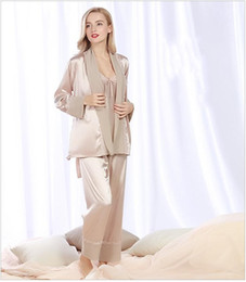 Wholesale Sexy Sleep Wear Set - Elegant Women's Robe Pants Sets Lace trim Sleep comfortable Anti real silk Autumn Sexy Night Shirt Casual wear 3 piece Pajamas Sets STZ305