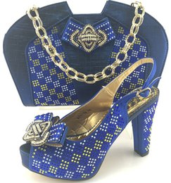 Wholesale Rhinestone Buckles For Shoes - Italy shoes and bag to match set for party Italian women's shoes and bag set new design african shoes and bag ME7710