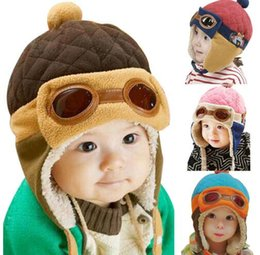 Wholesale Infant Earflap Hat - Kids Infant Winter Pilot Aviator Warm Cap Hat Beanie Ear Flap Soft Winter Baby Earflap Toddler Girl Boy Warm Soft Beanie Hat KKA2514