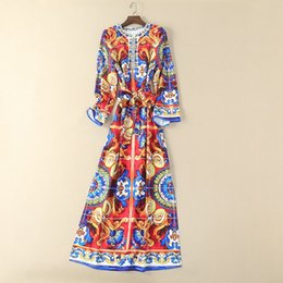 Wholesale long red nails - European and American women's wear in 2018 The new spring Long sleeve Round collar Royal printing Nail bead Long dress