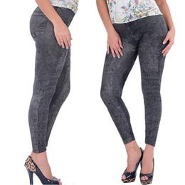 Wholesale jean hot pant women - Wholesale- Hot Selling Lady Girl Black Sexy Faux Jean Skinny Jeggings Stretchy Slim Pants Plus Size Ankle-Length Pants Women Jeans
