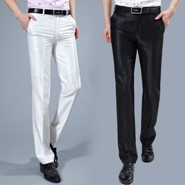 Wholesale Korean Pants For Men - Wholesale- Men Suit Pants 2017 Slim Fit Mens Dress Pants Korean Fashion Wrinkle Free Suit Pant Black White Formal Trousers For Men P62