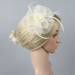 Wholesale Crinoline Hair - Multiplel color crinoline fascinator headwear feather colorful mesh flower church show hair accessories millinery cocktail hat