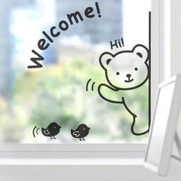Wholesale White Wall Quote Decals - Cute Animals Bear Birds Wall Art Mural Decor Nursery Window Glass Door Wallpaper Decoration Poster Hello Welcome Wall Quote Car Decal