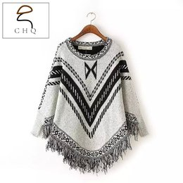 Wholesale Womens Long Sweater Poncho - Wholesale-Women Autumn Winter Sweater Knitted Batwing Tassel Pullover Sweaters Tops Knitwears Womens Capes and Ponchos Womens Clothings