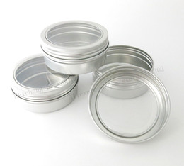 Wholesale Aluminum Window Glass - 30 x 150g aluminum jars with window 150ml aluminum tin for powders, gels, cream and display Tea Beadsuse, 5 oz metal containers