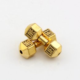 Wholesale Gold Bracelet Spacer - Hot ! 100pcs Antique Gold Live Lift Dumbbell Spacer Beads 7x 20mm DIY Jewelry fit Bead Bracelet
