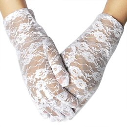 Wholesale Elegant Ladies Costumes - Wholesale- New Elegant Ladies Short Lace Gloves Costume - Beige white