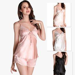 Wholesale Ladies Piece Pajama Set - Wholesale New women Sexy Silk Satin Pajamas Sets Sleeveless Pajama Set V-neck Two Piece Suit Sleepwear For ladies Lingerie Nighgrown