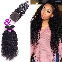 Wholesale Wholesale Colored Weave Hair - Ushine Indian Malaysian Water Wave Human Hair Bundles With Closure Natural Color 3-5 Bundles 100% Unprocessed Can Be Colored