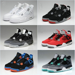 Wholesale Thunder 4s - With Shoes Box Top Quality Retro 4 Men Basketball Shoes 4s White Cement Toro Bravo 4s Superman Bred Thunder Mens Sports Shoes