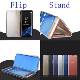 Wholesale Mirror Metal Electroplating - 2017 Electroplated Mirror Flip Cases For Samsung Galaxy Note8 Note 8 Protector Shell View Window Clear PC electroplated Case Filp Fold Cover