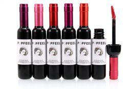 Wholesale Wine Bottle Box Shipping - Factory Direct Dhl Free Shipping New Makeup Lip Popfeel Bottle Of Red Wine Lipstick Waterproof Lip Gloss!6 Colors=1 Box