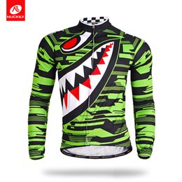 Wholesale Sharp Wear - Nuckily Quick dry cycle sharp teeth prited design cycling wear Men's fancy design long sleeve bike clothing MC001
