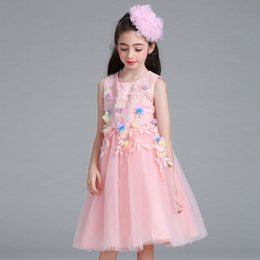 Wholesale Chinese Fleece Flower - Girl Dress Embroidered Princess Dress Wedding Party Piano Costumes Lace Flower Strap Ruffle Tulle Tutu Princess Bubble Dress