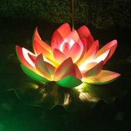 Wholesale Lights For Outdoor Ornaments - 60CM Dia Artificial EVA Lotus Lamp Outdoor LED Landscape Lighting Project Park Water Pool Ornament For Garden Outdoor ZA1850