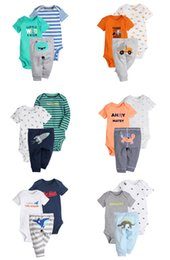 Wholesale 18 Month Onesies Boy - Boys Clothing Sets Rompers Pants Onesies Newborn Baby Infant Toddler Kids outfits Jumpsuit Striped Summer Cotton Tops