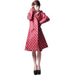 Wholesale Good Raincoats - Good Waterproof Raincoat Women Dot Fashion Long Raincoat Over Knee With Hood And Packing Pouch Pocket Poncho Coat