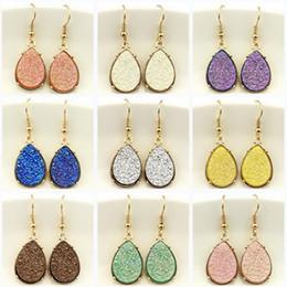 Wholesale Teardrop Rhinestone Necklace - Hot Selling Drusy Dangle Mini Teardrop Faux Druzy Earrings Necklace for Women Gold Fashion Water Drop Earrings Popular Women Jewelry