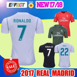 Wholesale Soccer Jersey Goalkeeper - 2017 New Real Madrid soccer Jersey 17 18 RONALDO home white away Black goalkeeper Maillot de foot BALE RAMOS ISCO XXL football shirts
