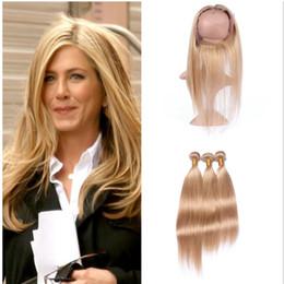 seda miel Rebajas Honey Blonde Silk Straight Hair 3 Bundles con 360 Lace Frontal closure 27 Strawberry Blonde Pure Color 360 Lace Band Frontal con Bundles