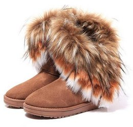 Wholesale Cartoon Ladies Shoes - Fashion Fox Fur Warm Autumn Winter Wedges Snow Women Boots Shoes GenuineI Mitation Lady Short Boots Casual Long Snow Shoes