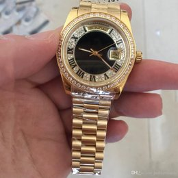 Wholesale AAA Luxury Brand men watches Golden K Gold Mens automatic Watch full Diamond face Sapphire original strap mens watches MM