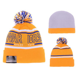 Wholesale Wholesale Winter Sports Teams Hats - Winter Fitted Beanie Hats Famous American Basketball Sport Team Winter Pom Beanie Hats for Men with Stretch Wool
