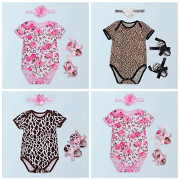 Wholesale Wholesale Floral Fabric - baby girl romper sets cotton jumpsuit baby floral rompers + fabric flowers headbands + toddler shoes summer clothes newborn onesies leopard
