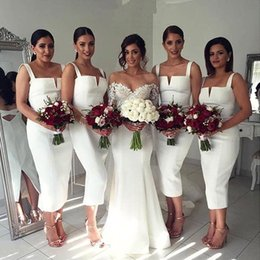 Wholesale Satin Short Straps Bridesmaid Dresses - 2017 White Short Mermaid Bridesmaid Dresses Spaghetti Straps Sexy Tea Length Satin Backless Maid of the Honor Dresses Wedding Guest Dresses
