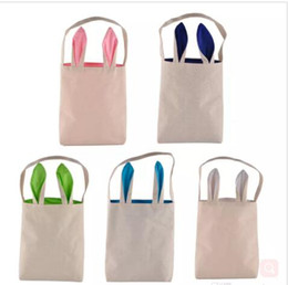 Wholesale Funny Bunnies - Kids Handbags Bunny Ears Easter Handbag DIY Bags Funny Baby Rabbit Ear Burlap Bags Celebration Gifts Christma Bag Kids Linen Handbag J466
