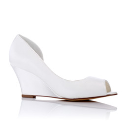 Wholesale white bridal wedge heels - Hot selling Nice 8cm Wedge sandal Dyeable Satin Wedding Dress Shoes With Rhinestone Elegant with Bow Women Shoes Bridal Shoes For Wedding