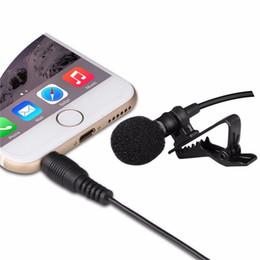 Wholesale Wireless Clip Mini Microphone - 3.5mm Black Clip-on Lapel Lavalier Mini Microphone Portable Microfone MIC Jack For iPhone Smart Phone Recording PC Microphone